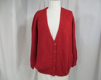 SIZE LargeX-LargeRouge Red Alpaca Cardigan Sweater For Women Two Pockets and Button Alpaca Fina
