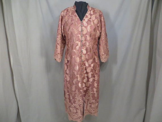 Rose Lace Overlay Indian Tunic Top Handmade India Unique Gorgeous Sm Med Dark Pink Ethnic Kurta Kurti Vintage