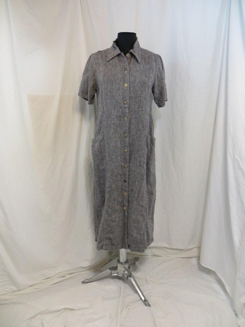 1922d4f2099 Vintage 90 s Natural Linen Long Dress Business Casual