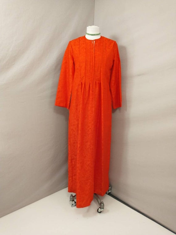 Bright Red 70's Hostess Gown by Loungees Vintage E