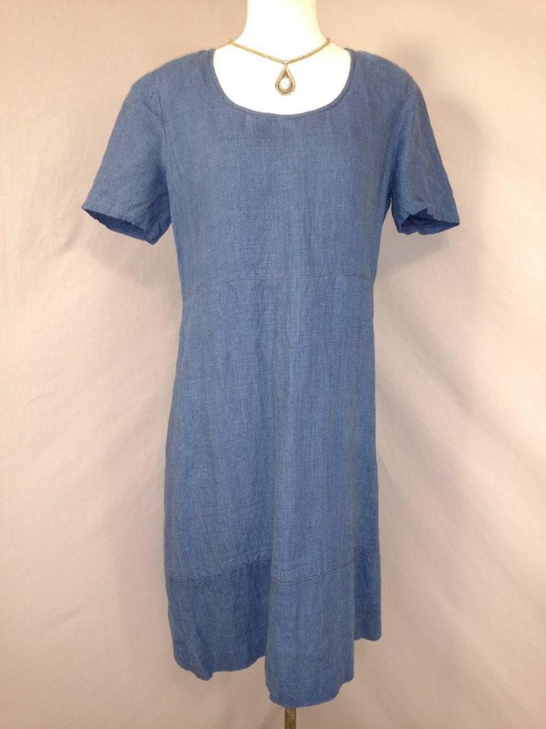 Indigo Linen Dress Vintage 90/'s Midi Knee Length A Line Shift Simple Minimalist Woven Denim Fabric Classic /& Comfortable Short Sleeve