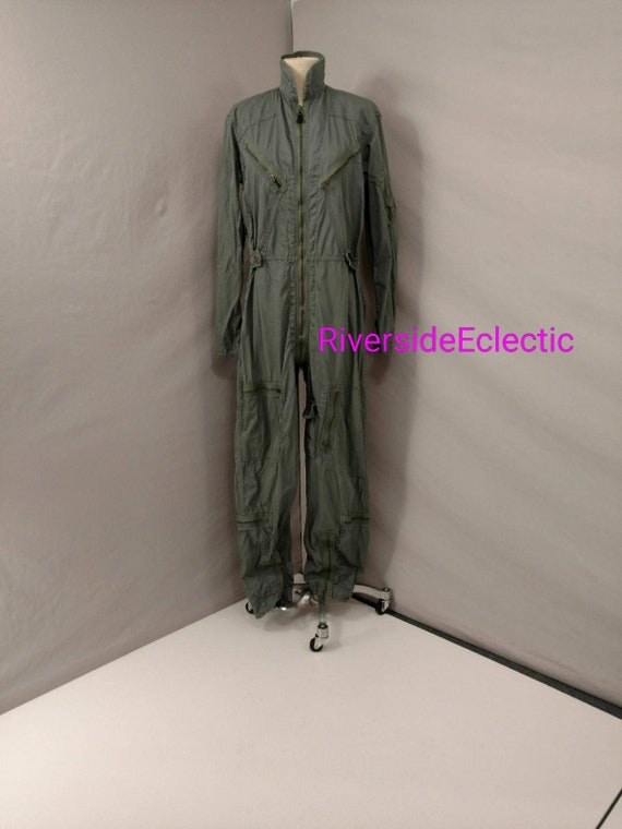 Sixties Coverall Flight Jumpsuit Med Long Vintage