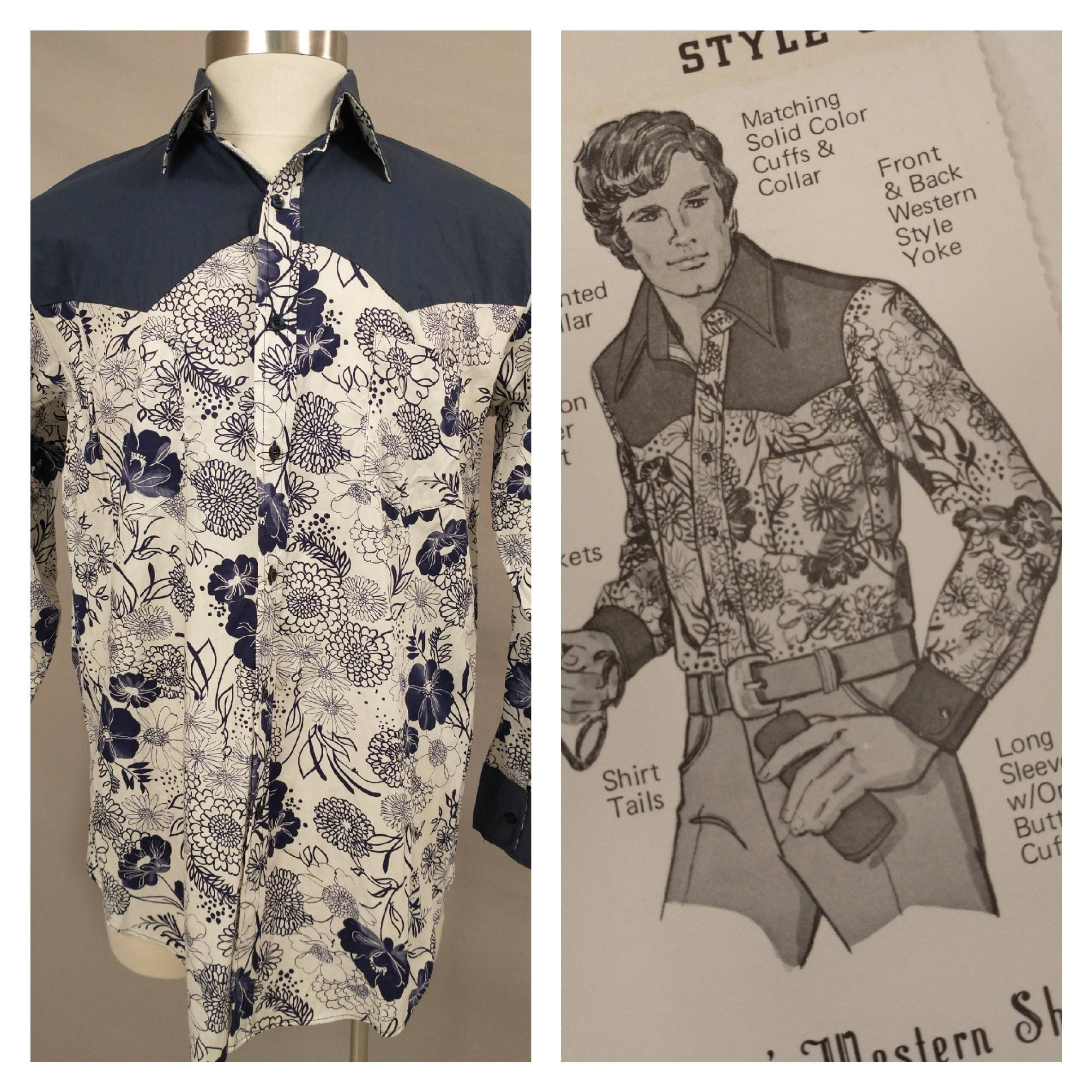 1970s Mens Shirt Styles – Vintage 70s Shirts for Guys 1970s Vintage Button Down Shirt Western Floral Print Collar Deadstock Never Worn New Old Stock Seventies Made in Usa Salesman Sample 1977 $0.00 AT vintagedancer.com
