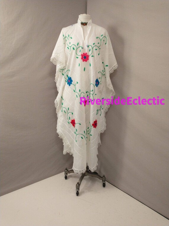 White Caftan Vintage 80's Long Hostess Maxi Dress