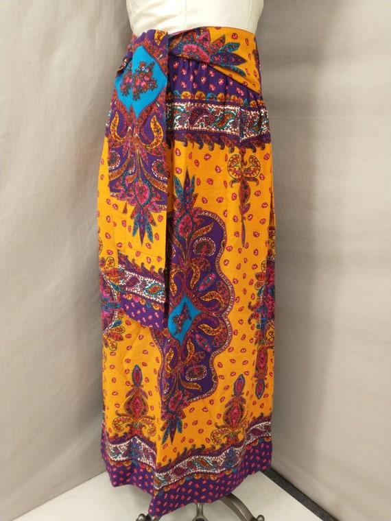 70's Vintage Handmade Maxi Skirt Bright Floral Mo… - image 2