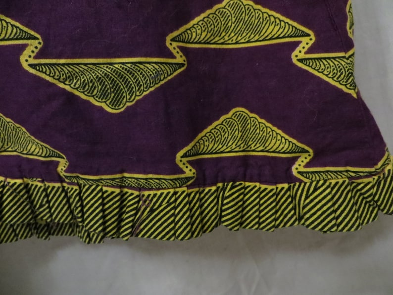 African Cotton Wax Print Mermaid Skirt Purple Gold Bright Colors Akosombo Textiles Ghana Ethnic Cultural Modern Shape Traditional Fabric