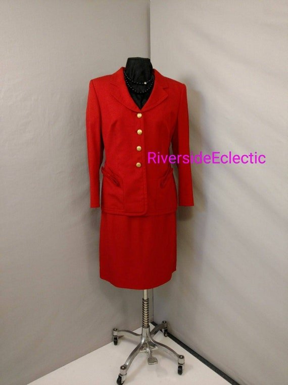 Red Designer Power Suit Rena Lange Woman's Busines