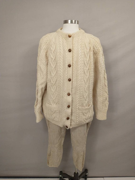 Vintage Scottish Sweater Traditional Hand Knit Jac