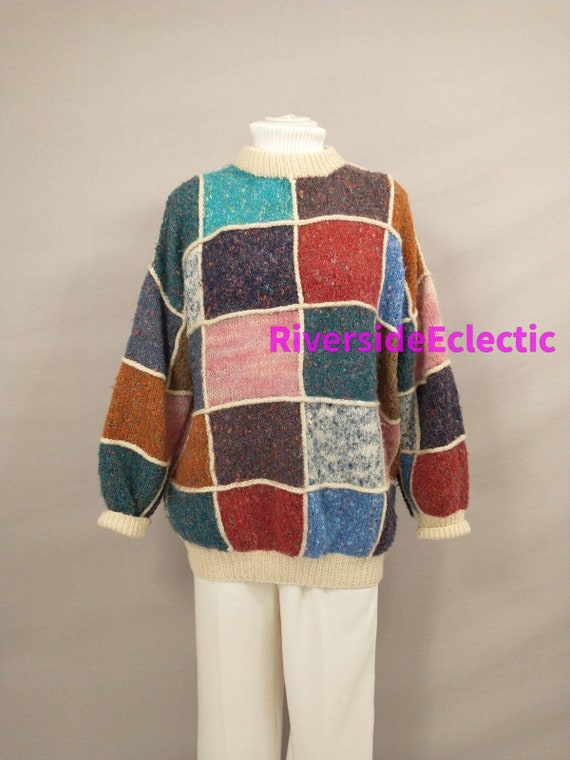 Patchwork Sweater Vintage Knit 90's Color Block Pa