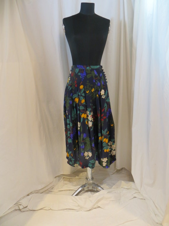 Vintage Silk Berries & Flowers Long Skirt 80's Maxi M 10 Albert Nipon Dark Navy Colorful Print