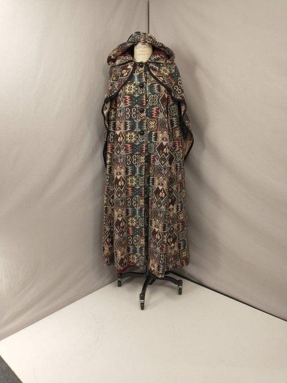 Tapestry Cloak Rich Colors Long Vintage Cape Quee… - image 1