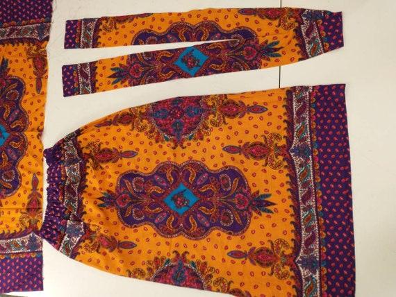 70's Vintage Handmade Maxi Skirt Bright Floral Mo… - image 9