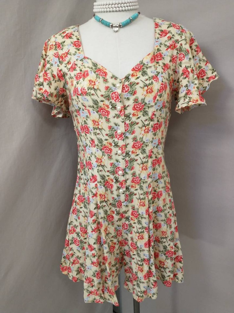 Adorable Vintage Eighties Small Short Mini Dress Romper by Hana USA Made Pink Floral Rayon 80/'s