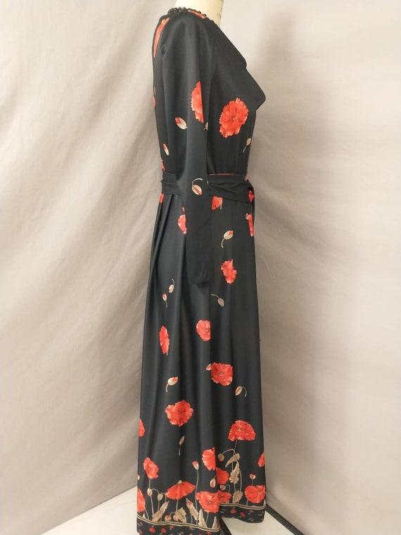 Vintage 70s Navy Green Pink Bold FLORAL POPPY Print Flutter WING Slvd Maxi dress 10-12 S M 1970s Flower Power