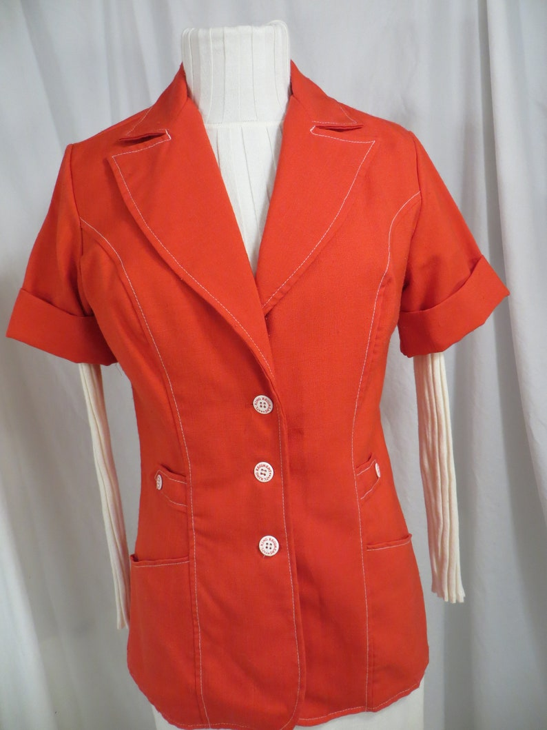 70/'s Red Long Shirt Jacket Tunic Length Sm Large Wing Collar White Buttons Authentic Period Seventies
