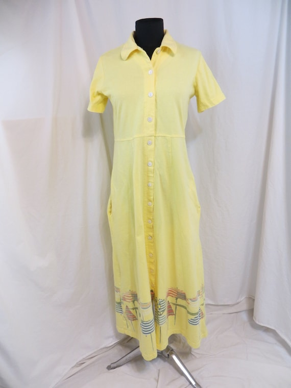 Julie Mango Vintage 90's Long Dress Yellow Cotton Beach Umbrellas Painted Md USA S
