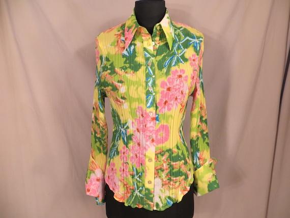 Bright Floral 80's Vintage Blouse Long Sleeve Sm M