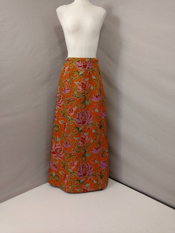 Dramatic Silk Skirt Floor Length Floral Very Long