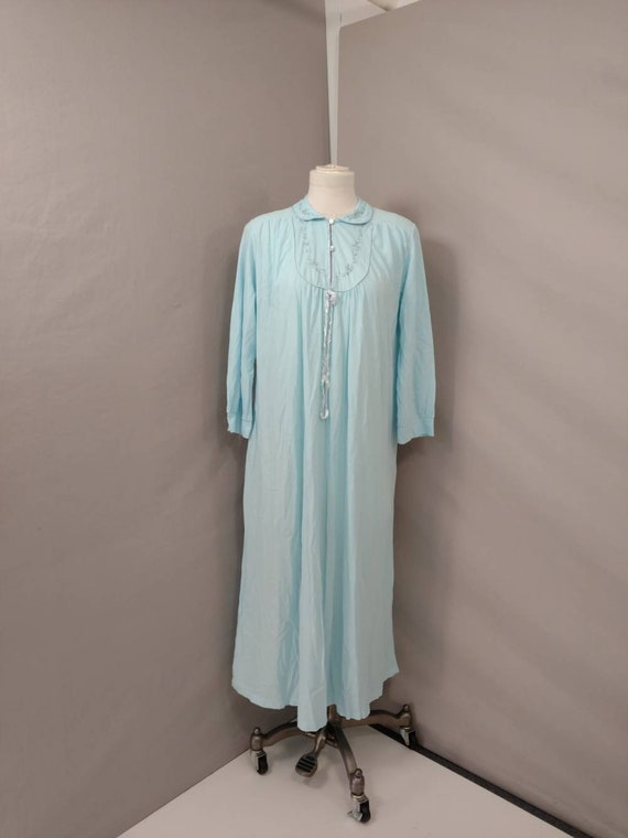 Blue 80's Nightgown Long Modest Feminine Eighties