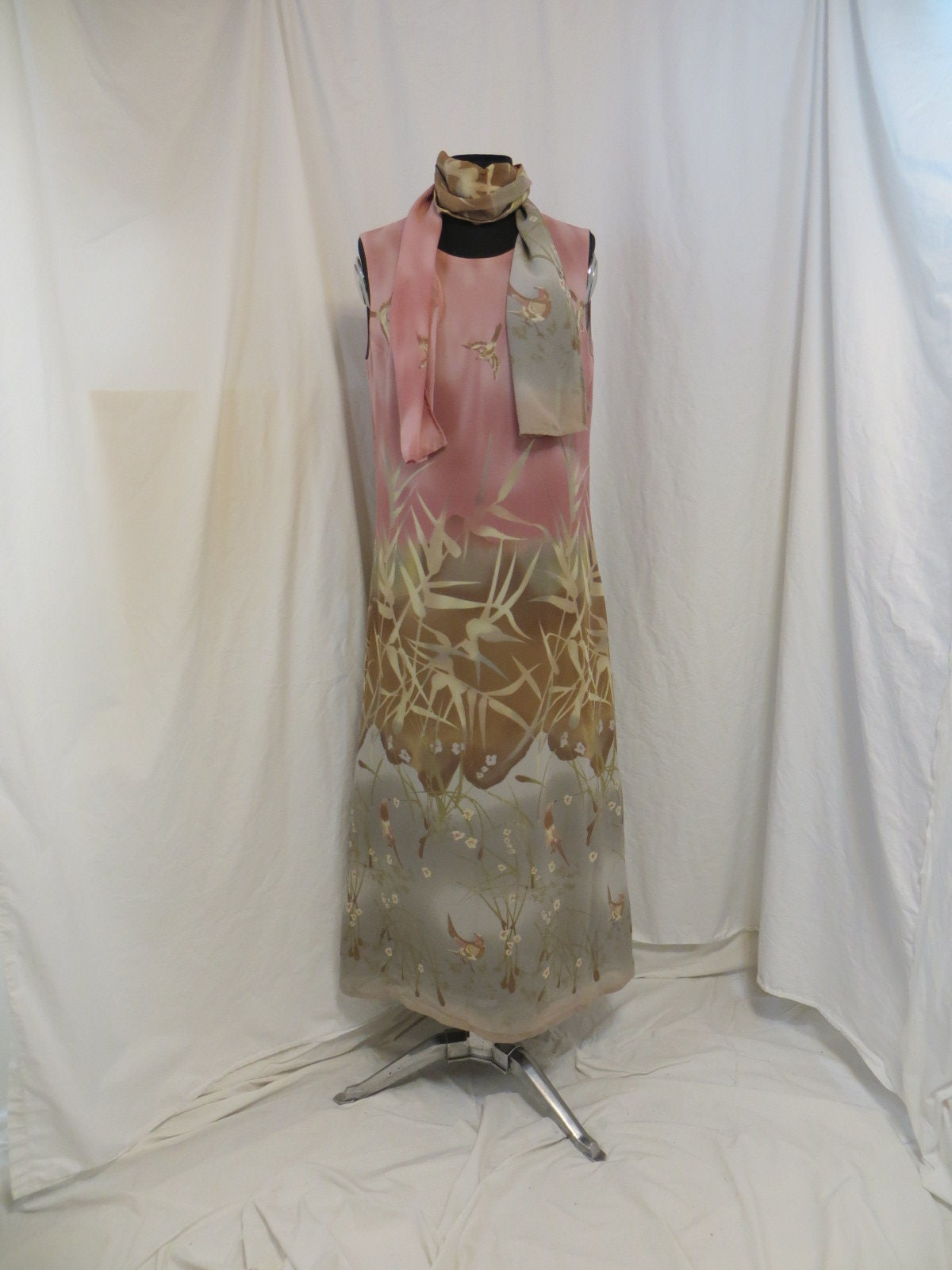 Vintage Scarf Styles -1920s to 1960s Vintage Dress Long Sheath Maxi Classic European Quality By Imagio Beautiful Bird  Bamboo Pastel Colors Rose  Gray Mrksz10 $0.00 AT vintagedancer.com
