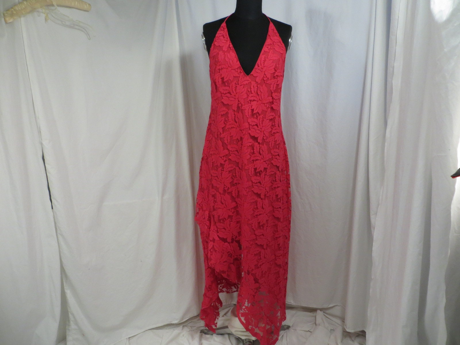 Vintage Scarf Styles -1920s to 1960s Hot Pink Lace Vintage 90s Feminine Long Dress Made in Australia Party Evening Scarf Hem Plunge Neckline Colorful Quality Prom $0.00 AT vintagedancer.com