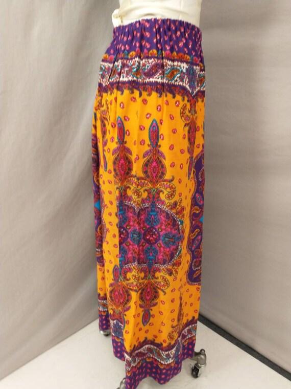 70's Vintage Handmade Maxi Skirt Bright Floral Mo… - image 4