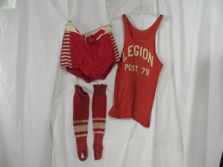 New 1930s Mens Fashion Ties 1930s Basketball Antique Athletic Uniform Tank  Shorts Mens Boys Vintage 30s 40s Red  White Legion Post 79 Thirties Sports $0.00 AT vintagedancer.com