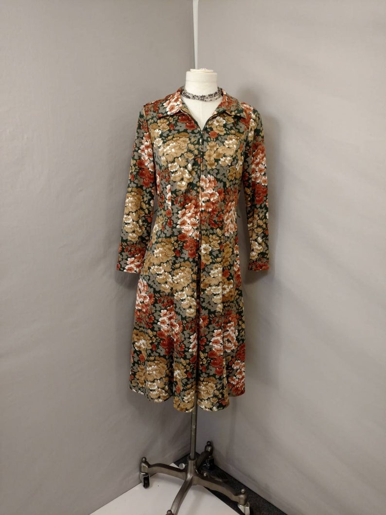 Authentic Vintage Sixties Floral Polyester Dress Small Short Midi Zipper front 1960/'s 60/'s Long Sleeve Modest or Zip Low Cut