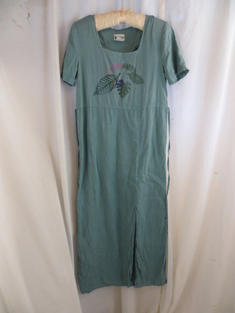 USA Made Linen Pale Aqua Turquoise Vintage 90/'s Nina Piccalino Long Dress Painted Loose Unstructured Minimalist Artsy Comfortable