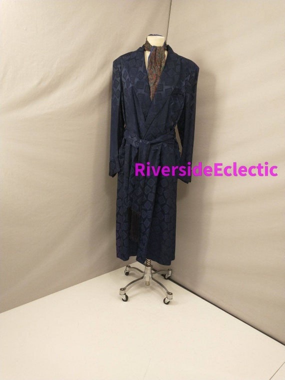 40's Smoking Jacket Dark Blue Vintage Robe Long Tr