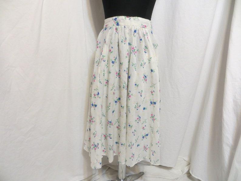 cf3b65b267 70's Floral White Cotton Vintage Skirt w pockets Bright | Etsy