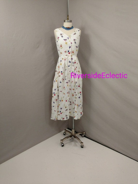 Butterflies on White Vintage 90's Rayon Long Dress