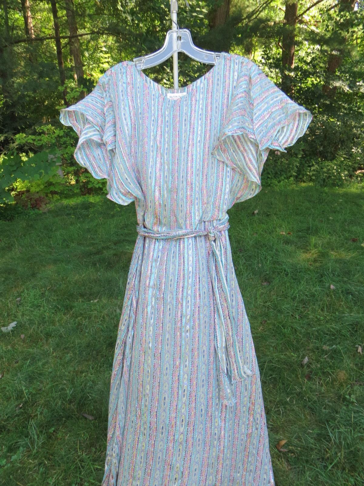Vintage Scarf Styles -1920s to 1960s Vintage Feminine Silk Dress Incinco The Farm 70s Sheer  Pretty Pale Colors Print Midi Flowy Seventies $0.00 AT vintagedancer.com
