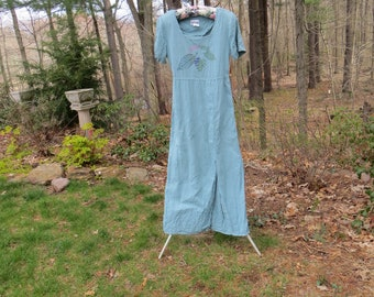 Vintage 90's Nina Piccalino Long Dress Pale Aqua Linen Painted made in USA