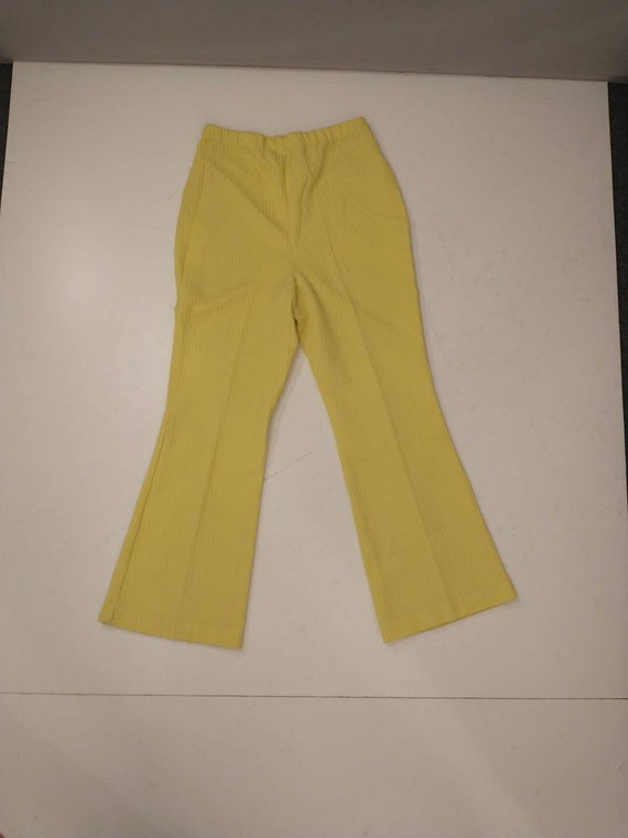 70's Yellow Polyester Pull On Pants Mod Hipster H… - image 1