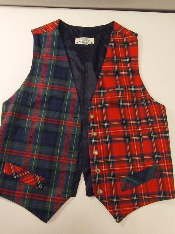 Wool Plaid Vest Brown Tan Vest Wool Vest Russ Vest Size 12 Brown Plaid Vest Plaid Vest
