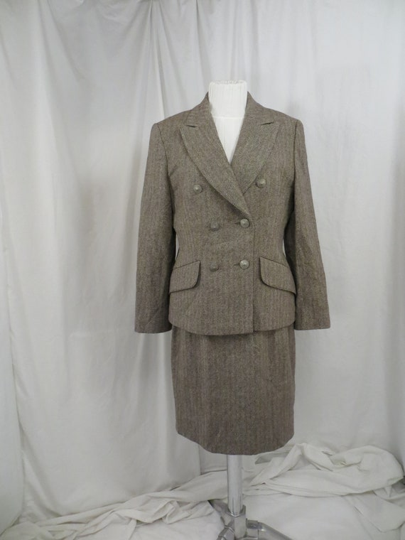 Designer Herringbone Wool Woman's Business Suit sz