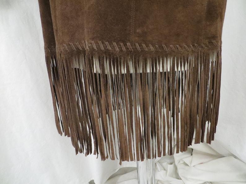 Suede Fringe Jumper Dress Vintage 90/'s Long Tunic Shift Brown w Lace Front Med 8 Southwestern Western Look or Bohemian Boho Festival