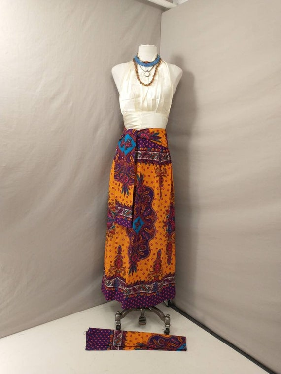 70's Vintage Handmade Maxi Skirt Bright Floral Mo… - image 1