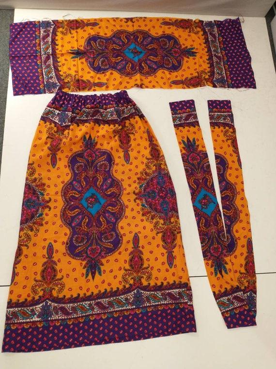 70's Vintage Handmade Maxi Skirt Bright Floral Mo… - image 5