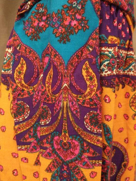 70's Vintage Handmade Maxi Skirt Bright Floral Mo… - image 8