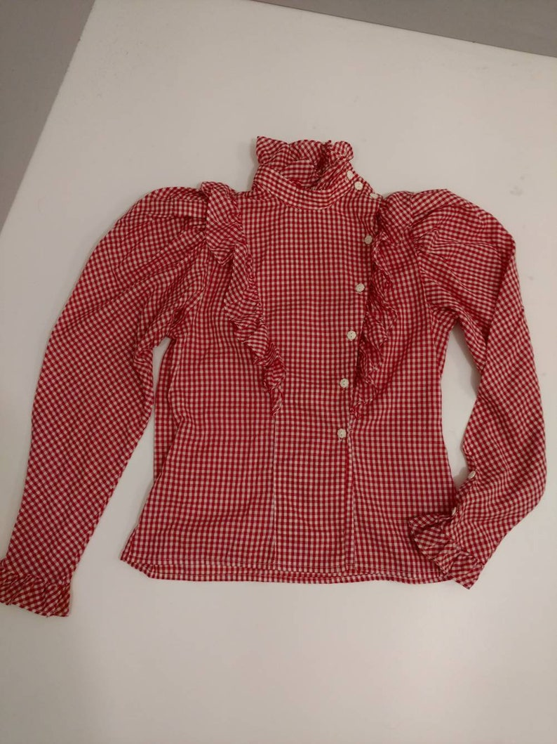 Super Feminine Red White Gingham Check Blouse High Ruffle Collar Shirt Vintage 70/'s Costume or Party Woman 1970/'s Vintage Feminine Country