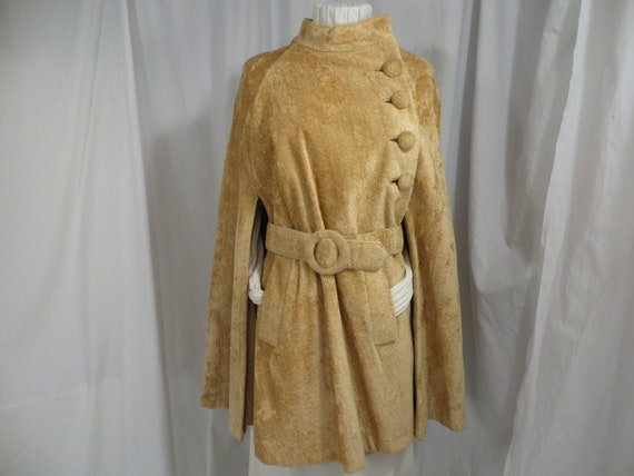 Sixties Glamour Chenille Vintage Cloak Belted Cape
