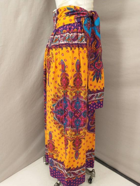 70's Vintage Handmade Maxi Skirt Bright Floral Mo… - image 3