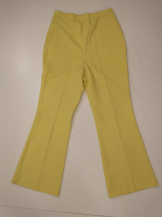70's Yellow Polyester Pull On Pants Mod Hipster H… - image 2