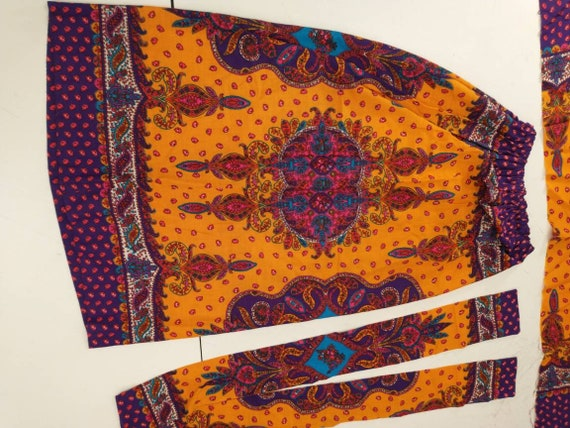 70's Vintage Handmade Maxi Skirt Bright Floral Mo… - image 6