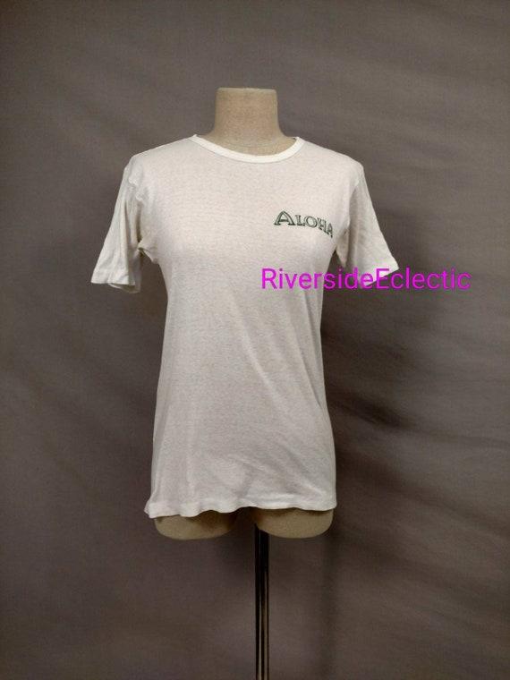 Rare Early Hawaii Vintage White Cotton T Shirt Al… - image 1