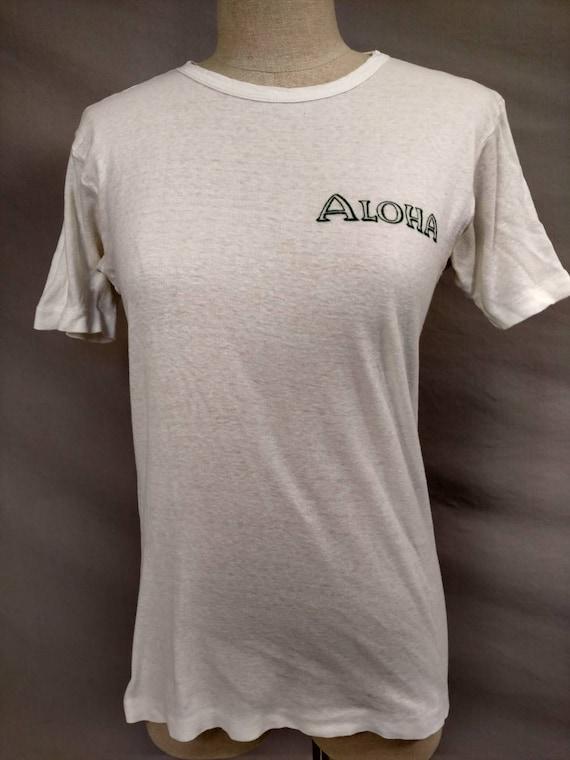 Rare Early Hawaii Vintage White Cotton T Shirt Al… - image 2