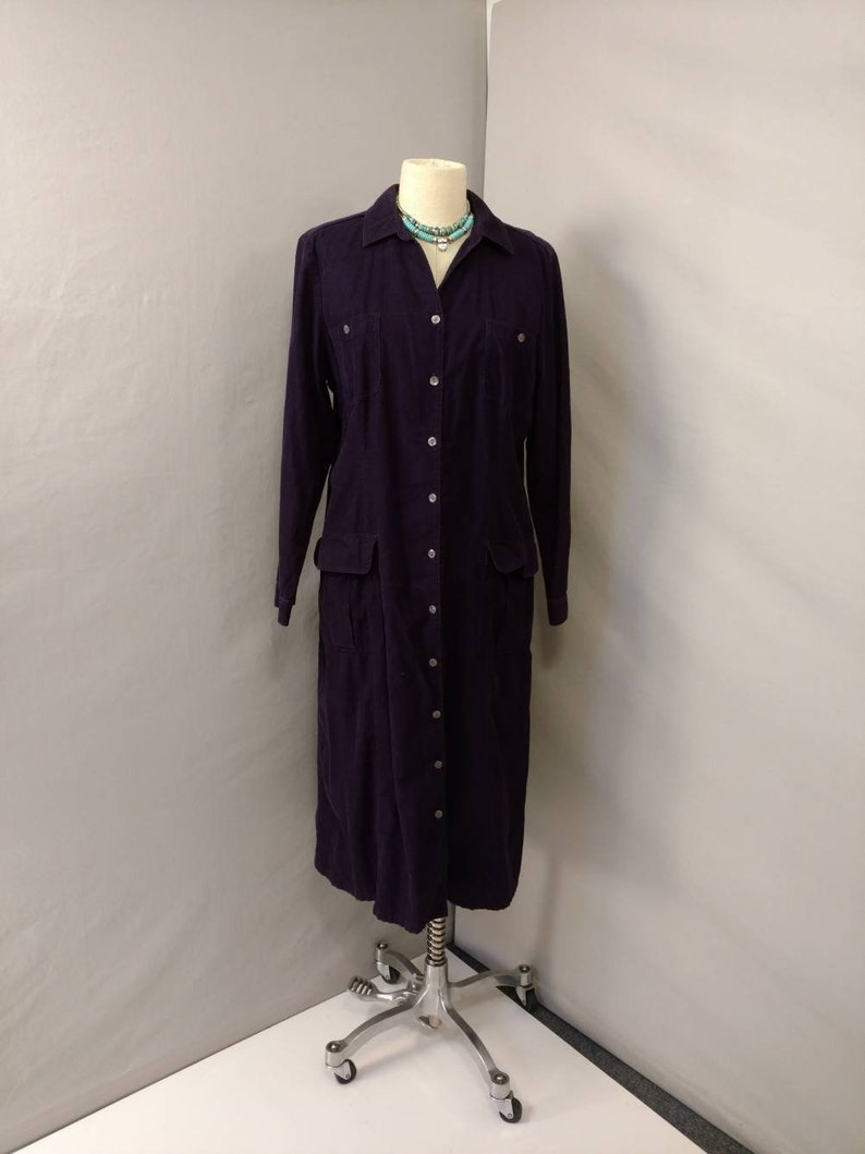 Purple Corduroy Dress Casual Cotton Button Front Shirtdress Long Sleeve Pockets sz 16 Comfortable Vintage 90/'s Traditional Maxi Talbot/'s