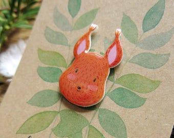 Squirrel Pin // Resin Shrink Plastic Pin // Cute Woodland Animal Pin // Handmade Accessory